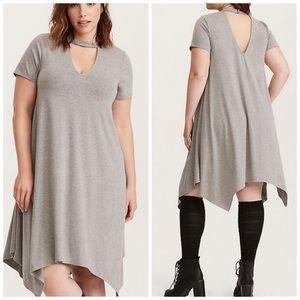 Torrid Grey Cut Out Trapeze Short Sleeved Dress